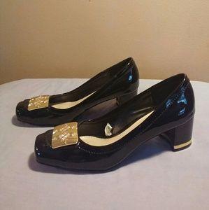 Merona 6 Black Shiny Square Toe Heels
